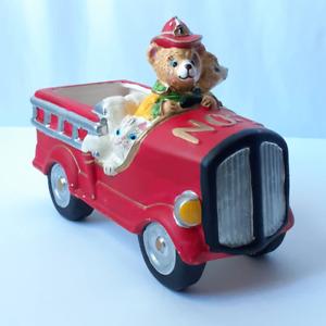 Ceramic Teddy Bear Kitten Fire Truck Bowl Candy Dish Planter Trinket Fireman