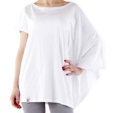 Maglia bianca donna maglietta t-shirt blusa scialle pipistrello cotone 525