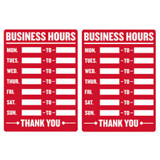 2pc Open Closed Business Hours Sign Mon Sun Times Store Office Cling Window 9x12