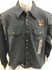 Men's Stonecast Steel Blue Deer Hunter Casual Button Down Shirt Size L (NWT)