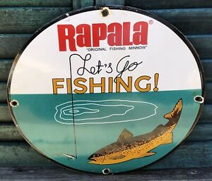 OLD VINTAGE 1950'S RAPALA FISHING LURES PORCELAIN BAIT AND TACKLE ADVERTISE SIGN