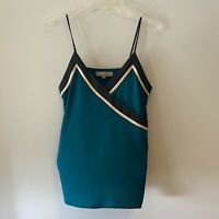 Loft Ann Taylor Womens Sleeveless Blouse Spaghetti Straps VNeck Small Teal Green