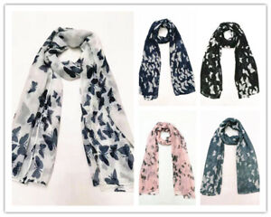 Ladies Small Butterfly Print Scarf Womens Soft Lightweight Wrap Spring Shawls