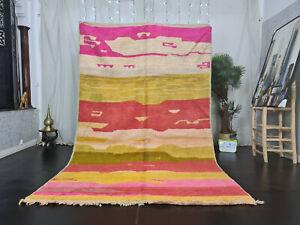 "Boujad Handmade Moroccan Vintage Rug 6'1""x10' Pink Red Yellow Berber Wool Carpet"