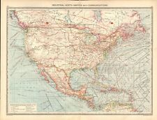 1907  LARGE ANTIQUE MAP - INDUSTRIAL NORTH AMERICA WITH COMMUNICATIONS