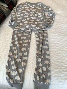 Janie and Jack boys pajamas holiday polar bears against gray size 8