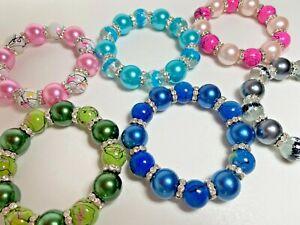 Wholesale Lot Bracelet Woman Beaded Stretch Bracelets Chunky 6 pcs Free Ship