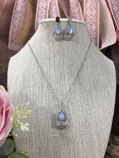 r Vintage Signed Sorrento Sterling Blue Chalcedony Earrings And Necklace Set