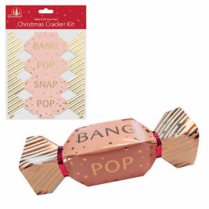 Pack of 6 Christmas Cracker Kit - Make / Fill your own - Rose Gold / Gold