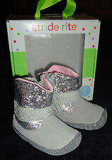 Stride Rite New Silver Sequin Crawl Gliitery Boots Shoes Size 1 0-3 Months $32