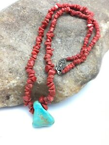 """Vintage Old Pawn Native American Coral Brass Necklace 18"""" 4007"""