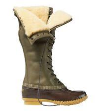 🦆$319 Women's Signature LL Bean Boots Shearling 16 inch duck 7 Olive Green L.L.