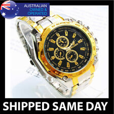 ORLANDO MENS  FASHION DRESS WATCH Gold Strap Band Army Military Business BLKF 83
