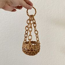 Vintage Miniature Woven Hanging Basket Air Fern Bohemian Mid Century Decor