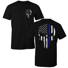 Thin Blue Line USA American Skull Flag Patriotic Police T-Shirt
