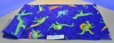Two Blue Pillow Cases With Dinosaurs 20 x 33 (510-527)