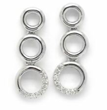 White Gold & Diamond Earrings - Three Loop Drop Earrings - Fully Hallmarked