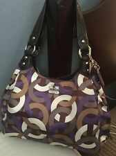Coach Madison Maggie Chainlink Sateen Leather Hobo Satchel Tote 14420 Multicolor