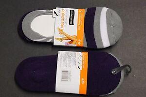 2 Pairs No nonsense Aromatherapy Liner  Cotton Terry Liner Shoe 4-10 Cushioning