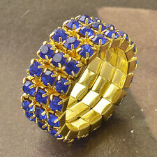 Around Blue CZ 9K Yellow Gold Filled Womens Ring 7 Adjustment F5018