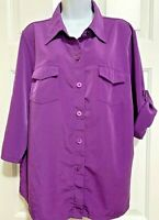 Susan Graver Camp Blouse Sz Large Purple Roll Tab Sleeves Stretch Peachskin QVC