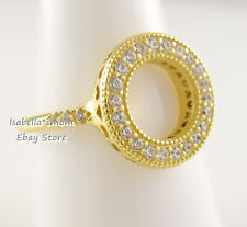 Shine SPARKLING HALO Genuine PANDORA Yellow GOLD Plated Ring 167096CZ 6~52 NEW!