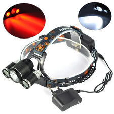 BORUIT XM-L T6 White 2R5 Red 3LED 6000LM Bicycle Headlamp Hunting Light Charger