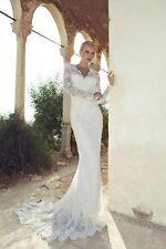 New Long Sleeve V-Neck Mermaid Lace Bridal Wedding Dress Custom Size 8 10 12 14+