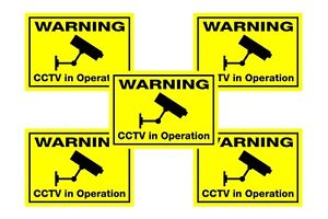 10x fluorescent dayglo yellow CCTV cameras in operation window warning stickers