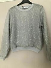 BNWT ZARA BLUE SEQUIN KNIT JUMPER SWEATER SIZE M