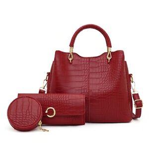 3 Pcs Set Composite Bag Designer Pu Leather Women Handbag Shoulder Crossbody Bag