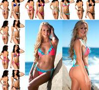 Coqueta Women's Swimsuit Bikini Set Thong Brazilian Wavy Tri Top Ruffle Assorted