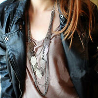 Bohemian Vintage Leaves Multi-layer Long Necklace Pendant Chain Jewelry JH