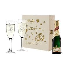 4 pièces champagne – Set cadeaux pour le mariage incl. GRAVURE anneaux avec