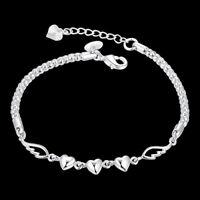 Women's 925 Sterling Silver Charm Love Heart Wings Bracelet Cuff Bangle Jewelrys