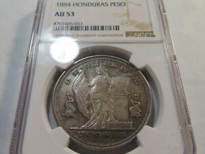 W48 Honduras 1884 Peso NGC AU-53