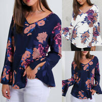 Fashion Women Flare Sleeve V Neck T-Shirt Blouse Loose Holiday Floral Print Tops