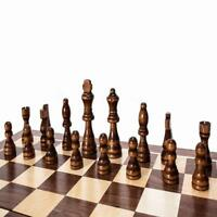 Vintage Folding Wooden Chess Set Wood Board Pieces Carved Hand Craft New J