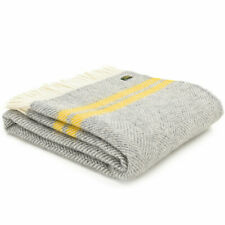 TWEEDMILL 100% Wool Sofa Bed Blanket Rug FISHBONE GREY & YELLOW STRIPE THROW