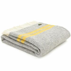 TWEEDMILL 100% Wool Sofa Throw Bed Blanket FISHBONE GREY YELLOW STRIPE KNEE RUG