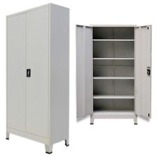 vidaXL Office Cabinet w/ 2 Doors Steel Gray Home File Organize Storage Locker