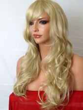 Blonde fashion long curly party full lady ladies hair wig ash blonde D22