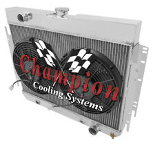 """2 Row Cold Champion Radiator W/ 2 12"""" Fans for 1966 1967 1968 Chevy Caprice"""