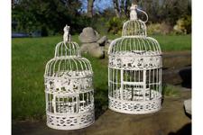 set of 2 Bird Cages White Ornate Hanging Wedding Centerpiece Candle Holder