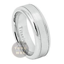 Unisex Titanium Pipe Cut Wedding Band, 7mm Satin Finish Center,Comfort Fit Ti652