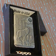 Zippo 20855 Wolf Timberwolves Brushed Chrome NEW Windproof Lighter
