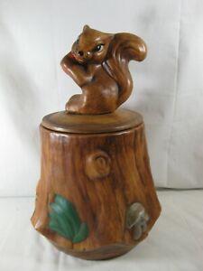 VINTAGE CALIFORNIA ORIGINALS 2620-1-2-3 Cookie Jar Ceramic Squirrel Tree Stump