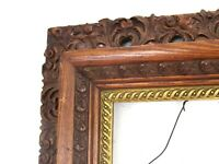 ANTIQUE OAK HAND CARVED GILDED WOOD FRAME FOR PAINTING  20 X 16 INCH  ( h-2)