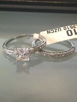 RT1 STAINLESS STEEL PRINCESS SIMULATED DIAMOND RING WEDDING ENGAGEMENT SET SZ L