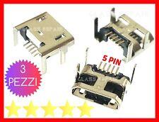 3 PEZZI RICARICA CONNETTORE  Micro USB 5 PIN 4 Piedini CARICA TABLET SMARTPHONE